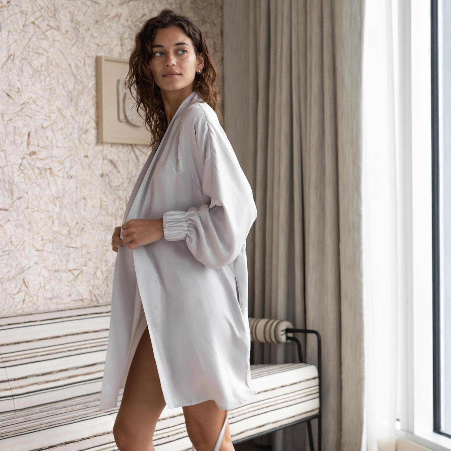 Lunya Sleepwear Washable Silk Robe - #Cloud