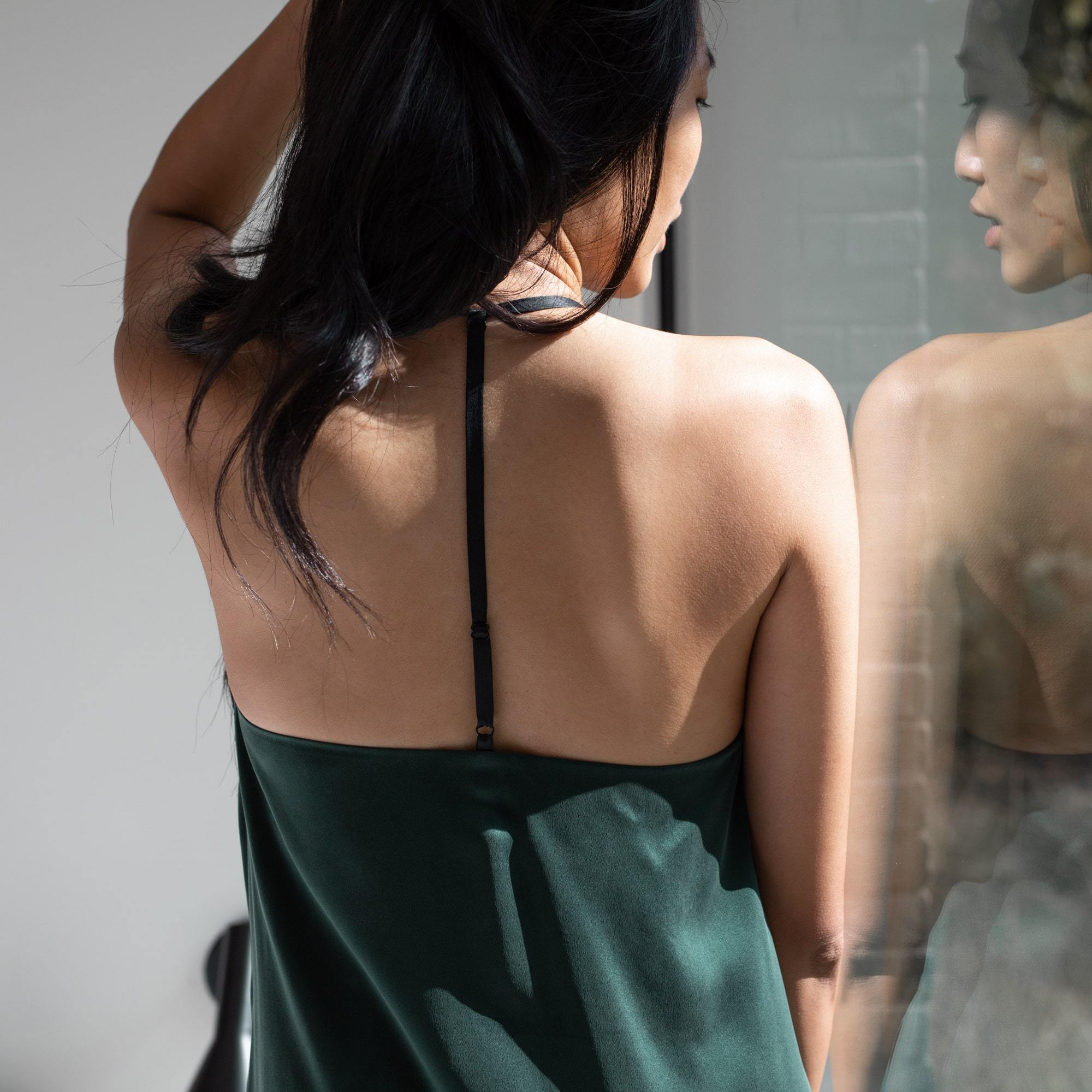 Lunya Sleepwear Washable Silk Slip Dress - #Emerald/Black