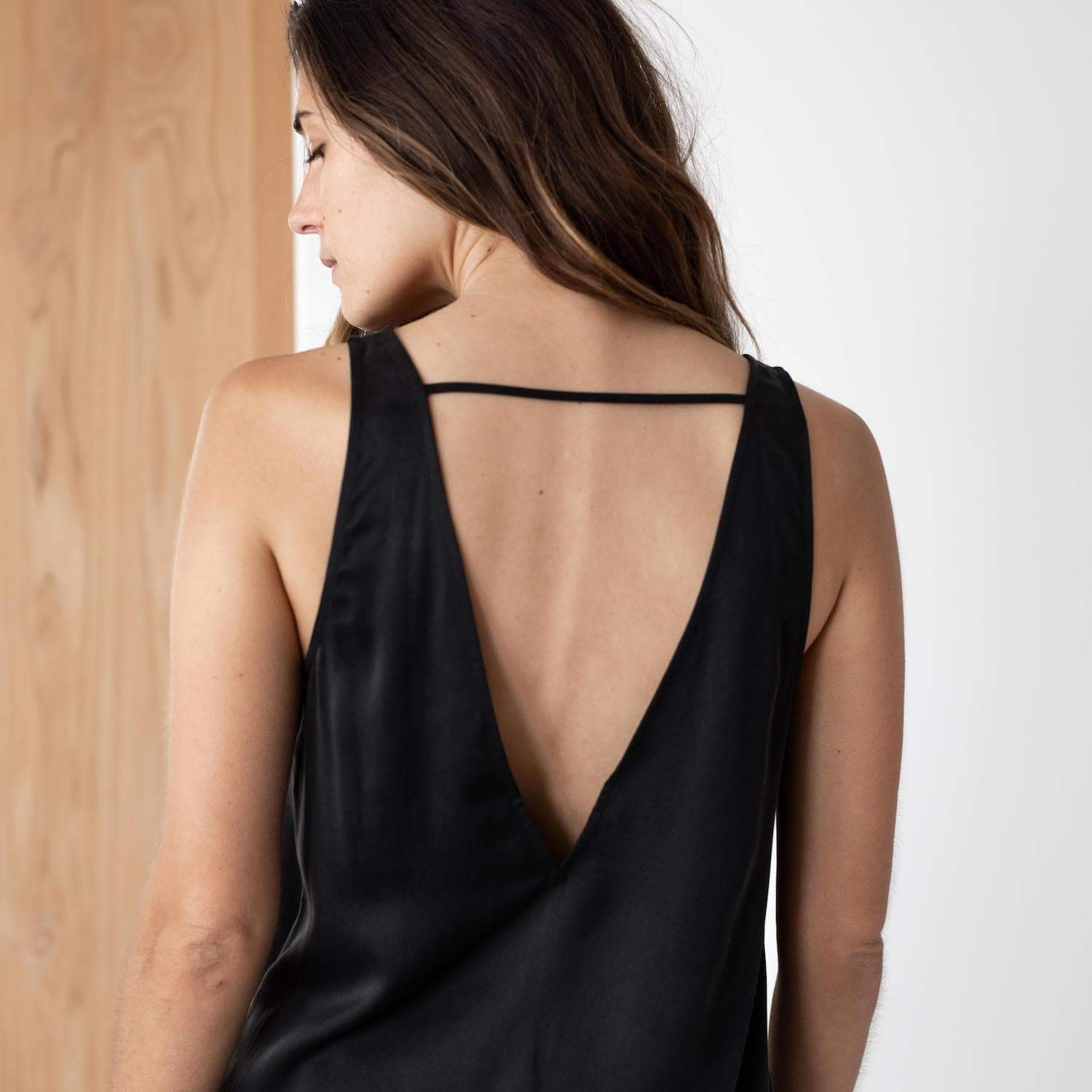 Lunya Sleepwear Washable Silk Tank Set - #Black