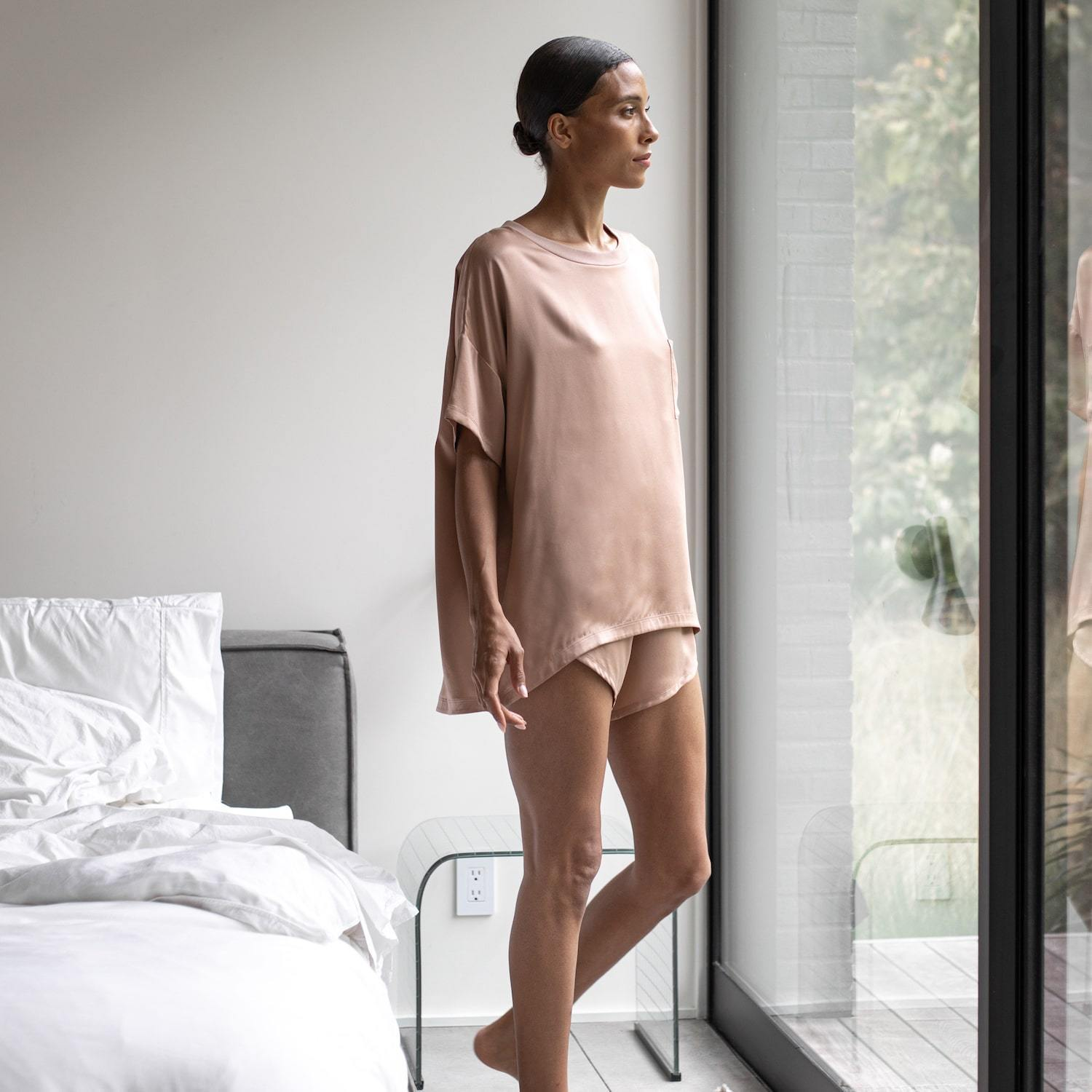 Lunya Sleepwear Washable Silk Tee Set - #Bare
