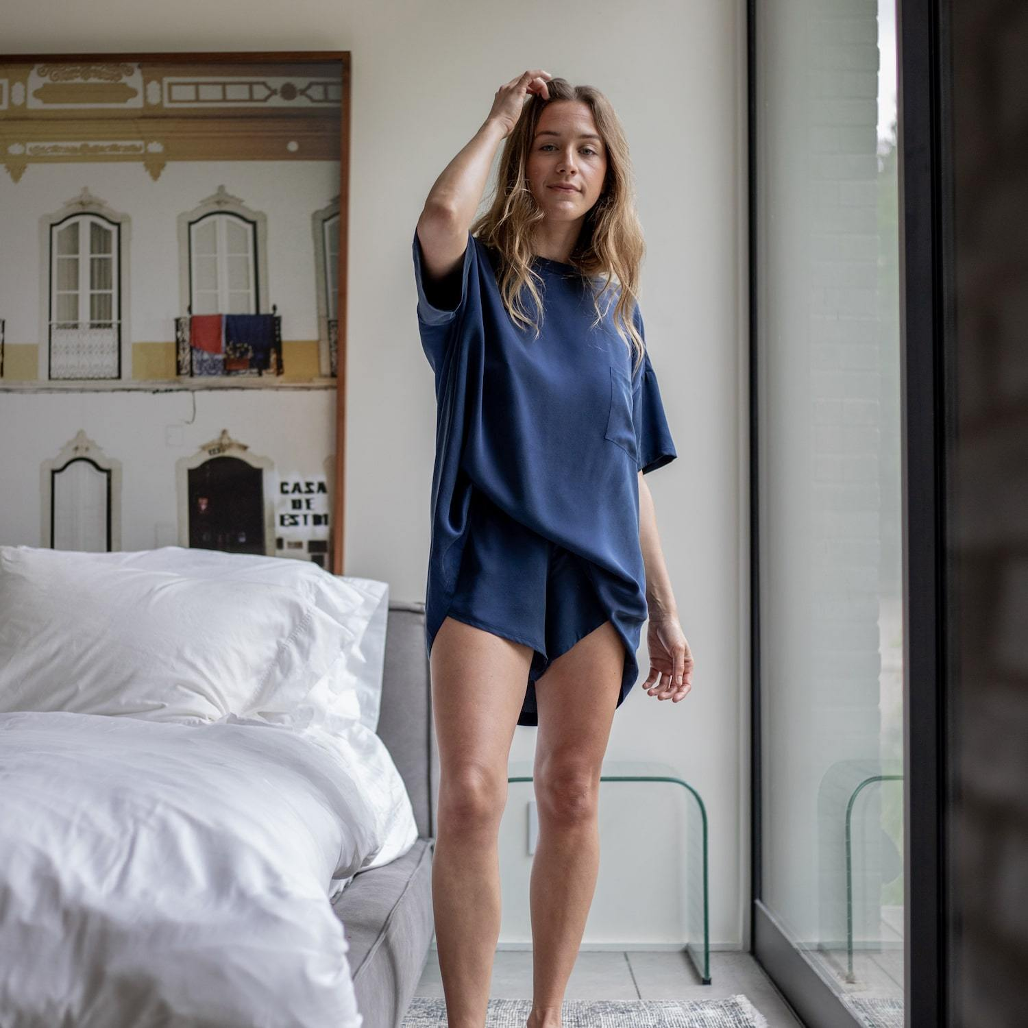 Lunya Sleepwear Washable Silk Tee Set - #Deep Night