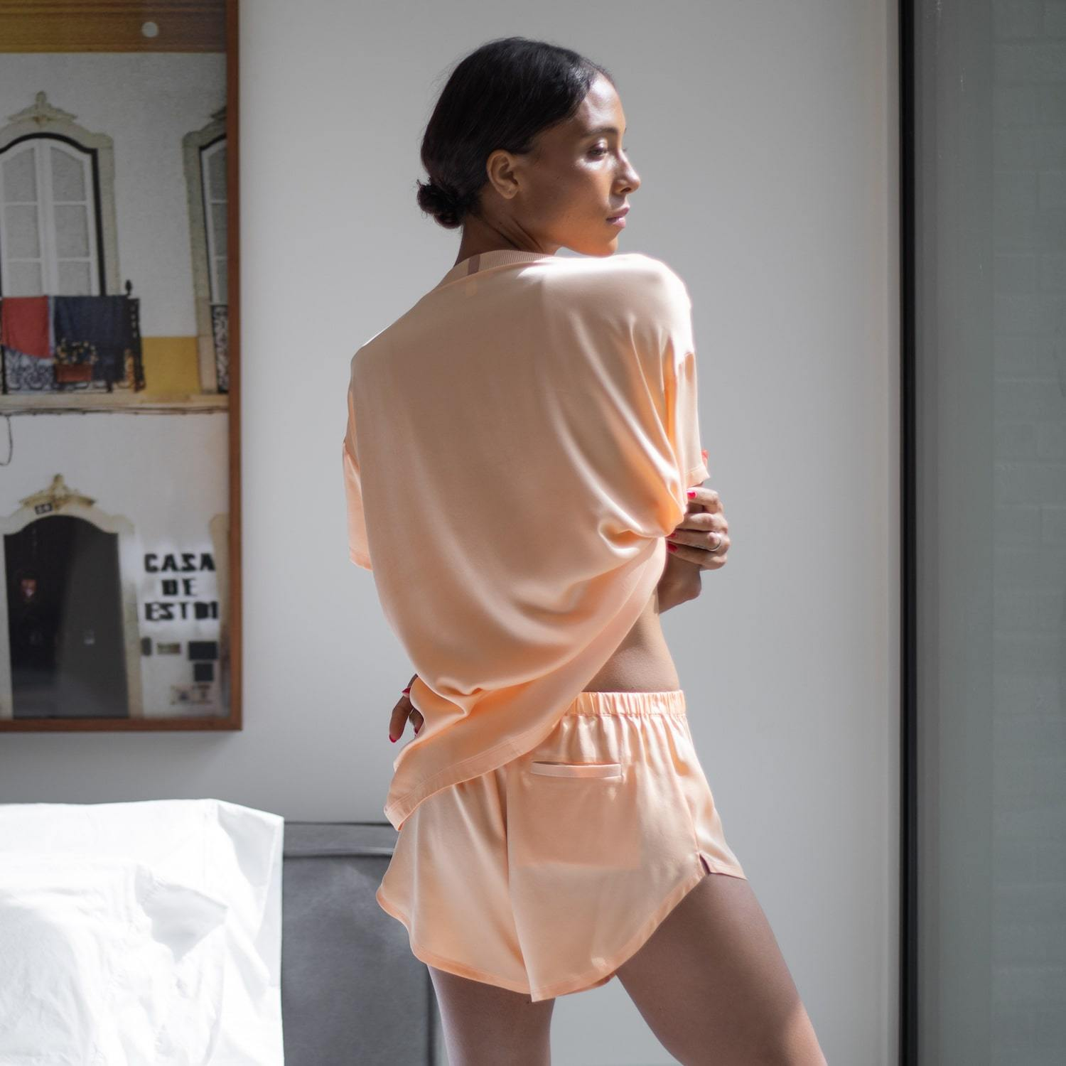 Lunya Sleepwear Washable Silk Tee Set - #Nectar