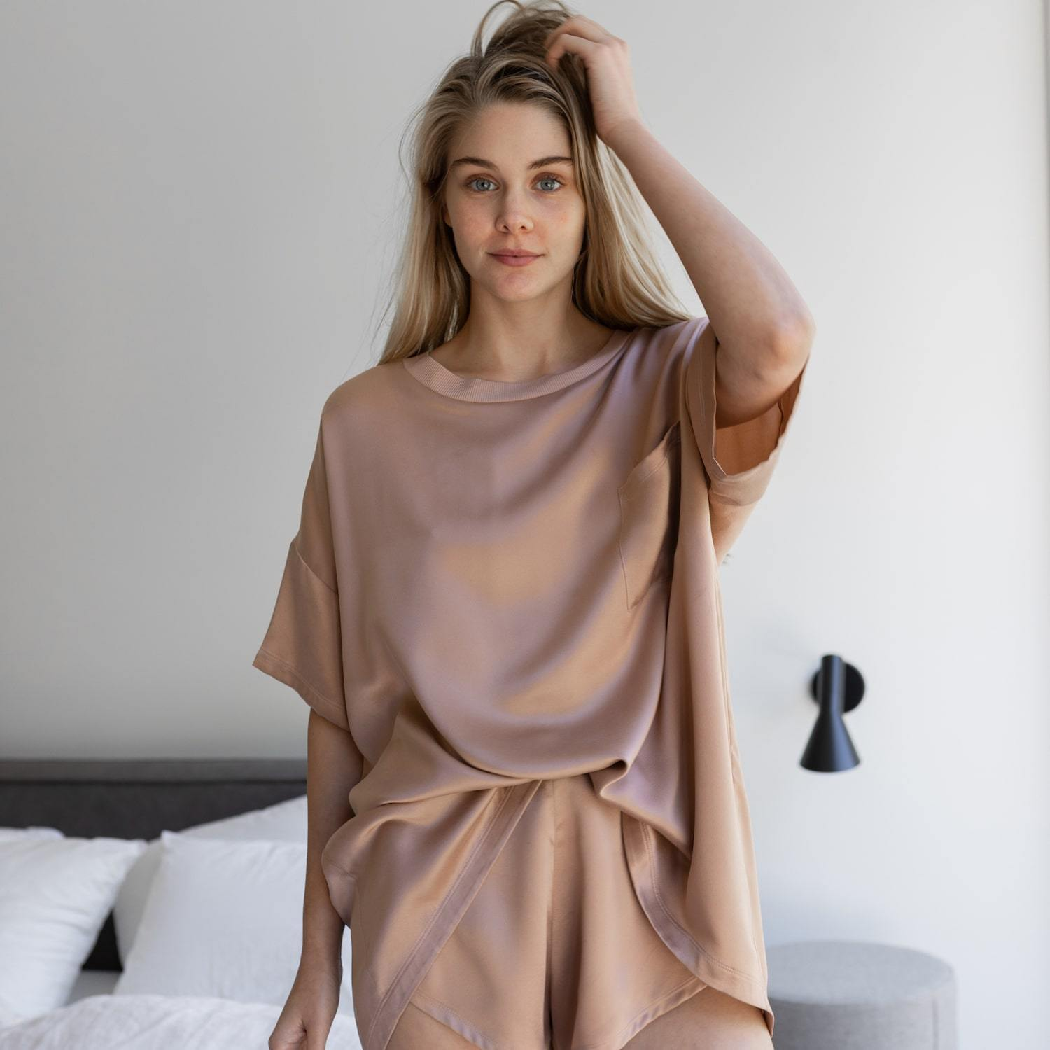 Lunya Sleepwar Washable Silk Tee Set - #Bare