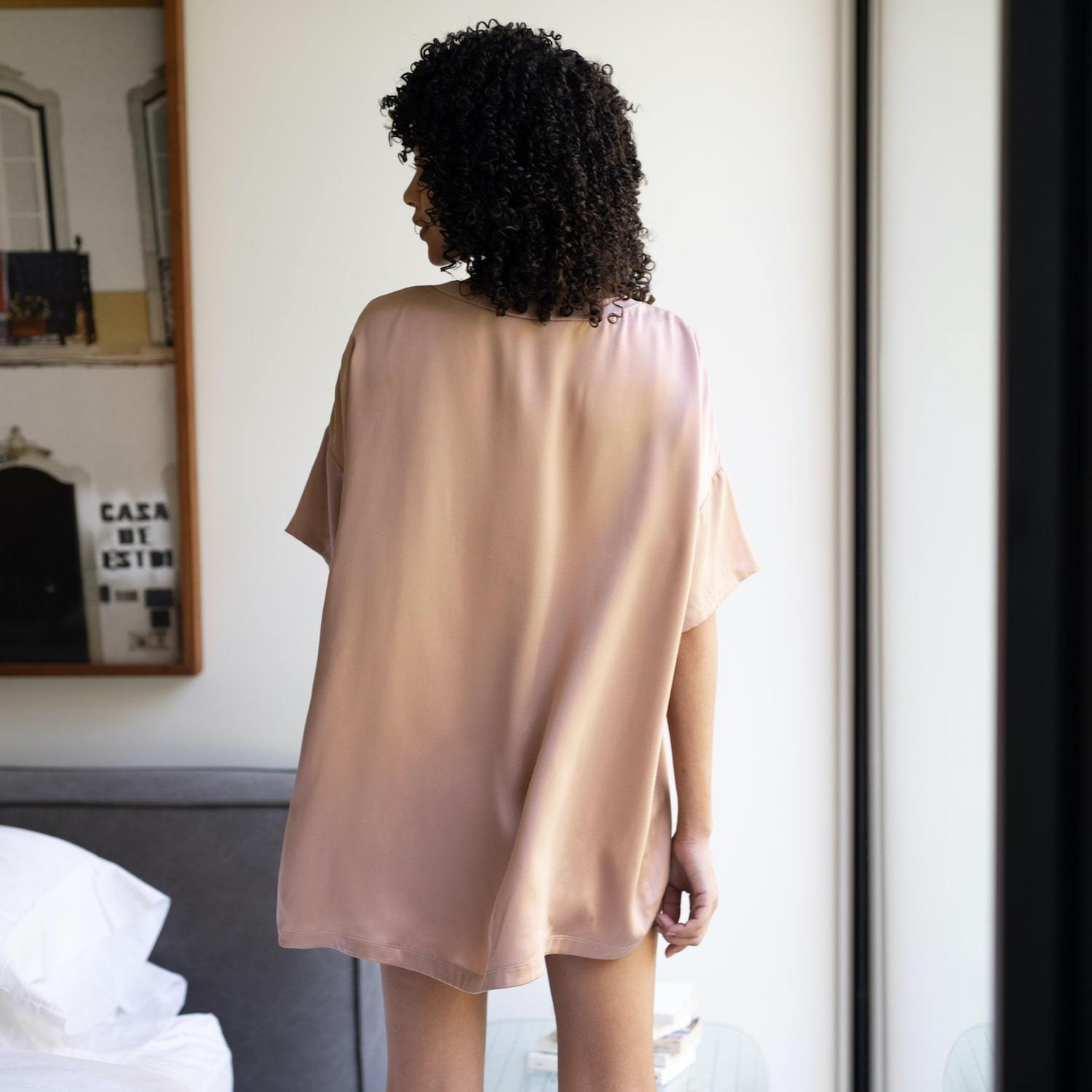 Lunya Sleepwear Washable Silk Tee Set - #Bare/Otium Tan