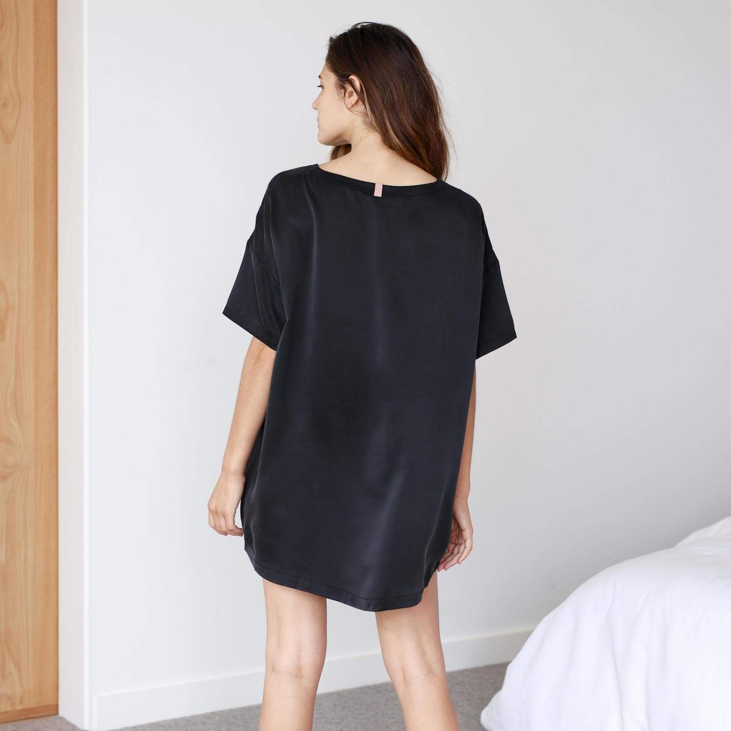 Lunya Sleepwear Washable Silk Tee Set - #Black