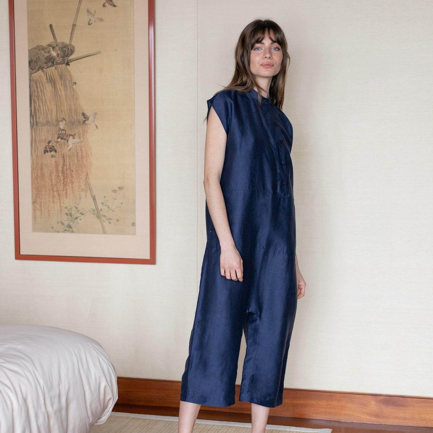 Lunya Sleepwear Resort Linen Silk Hacho Jumpsuit - #Deep Night