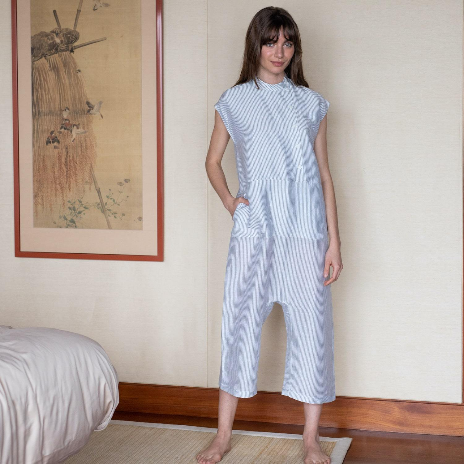 Lunya Sleepwear Resort Linen Silk Hacho Jumpsuit - #Horizon Stripe