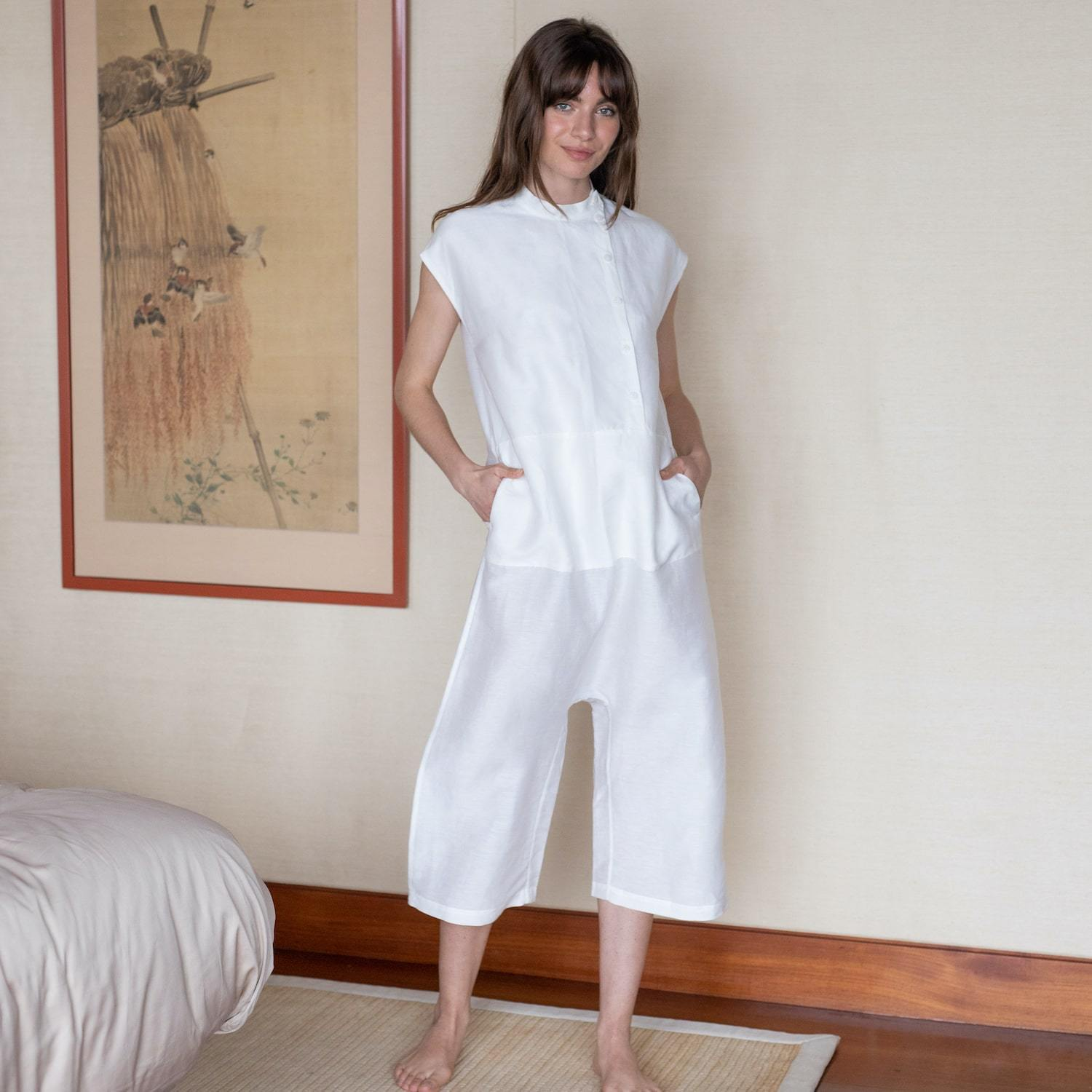 Lunya Sleepwear Resort Linen Silk Hacho Jumpsuit - #White