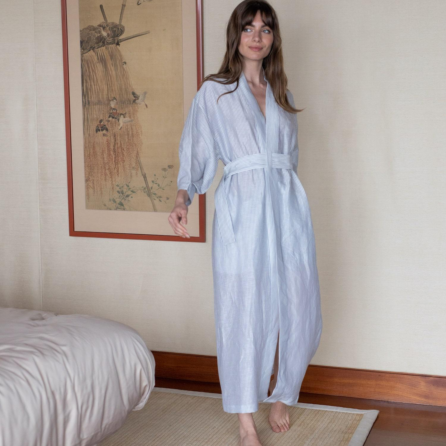 Lunya Sleepwear Resort Linen Silk Robe - #Horizon Stripe