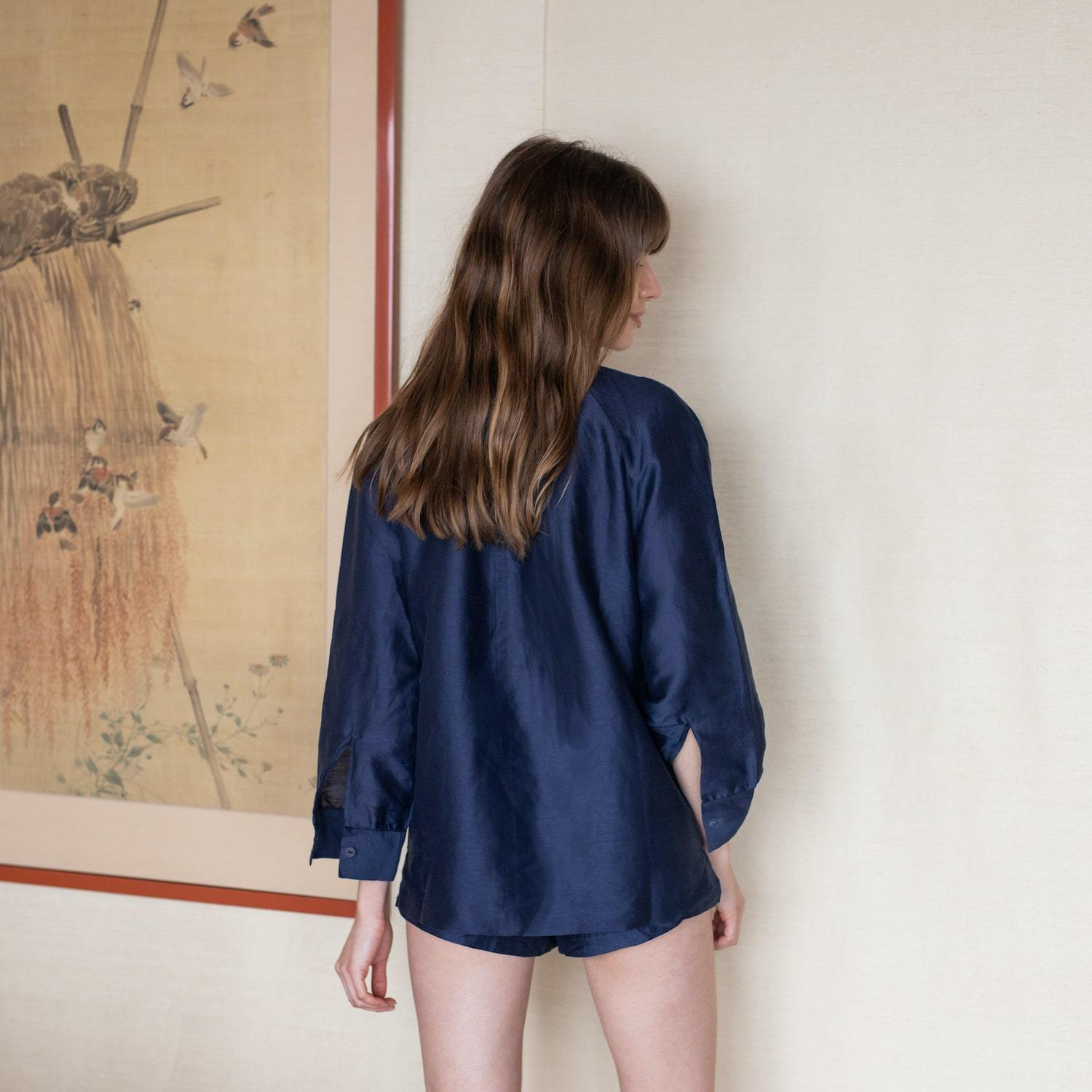 Lunya Sleepwear Resort Linen Silk Shirt Set - #Deep Night
