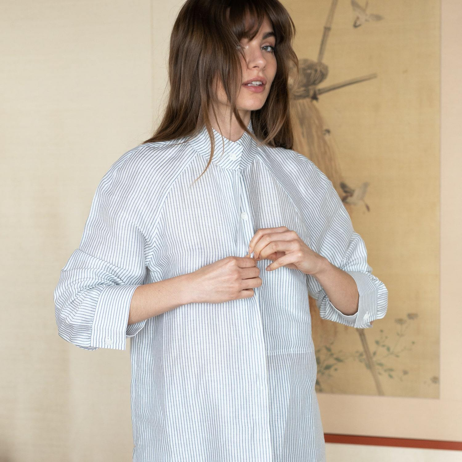 Lunya Sleepwear Resort Linen Silk Shirt Set - #Horizon Stripe