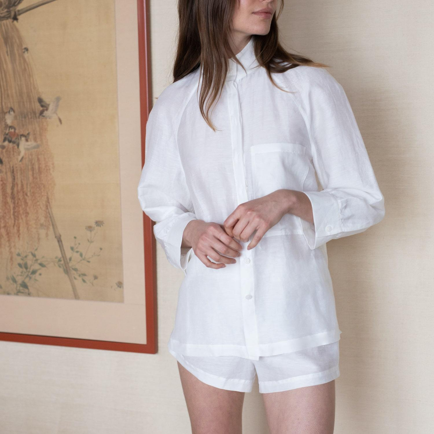 Lunya Sleepwear Resort Linen Silk Shirt Set - #White