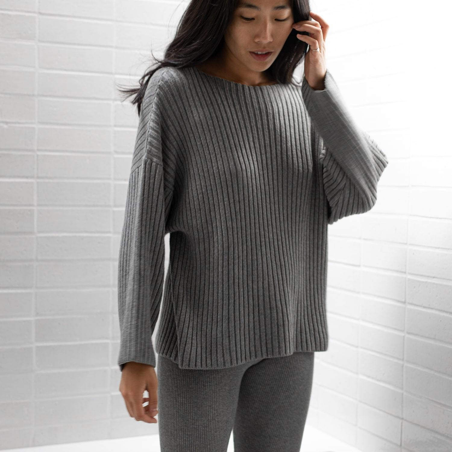 Lunya Sleepwear Cozy Pima Alpaca Ribbed Pullover - #Heather Grey