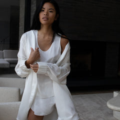 Lunya Sleepwear Washable Silk Robe - #Tranquil White