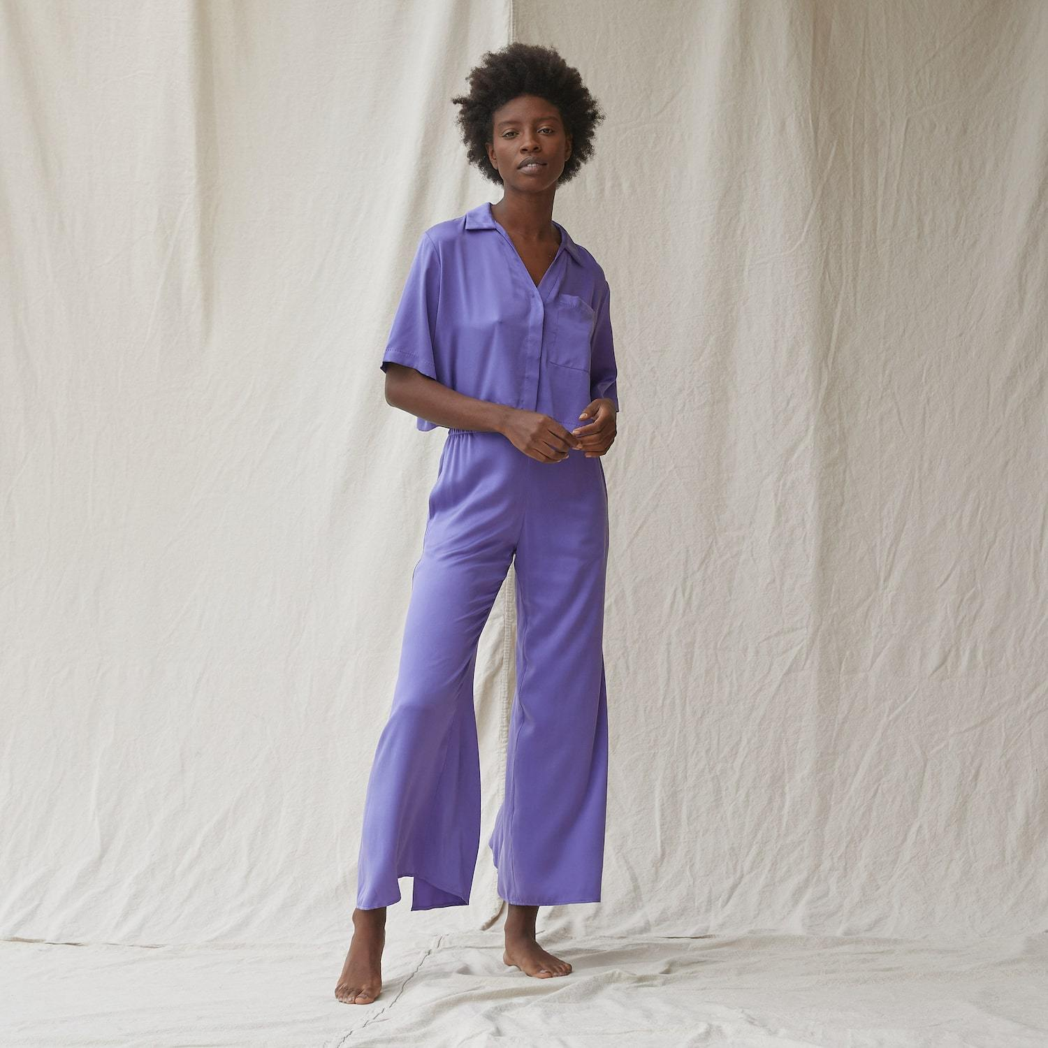 Lunya Sleepwear Washable Silk Button Down Pant Set - #Iris Purple