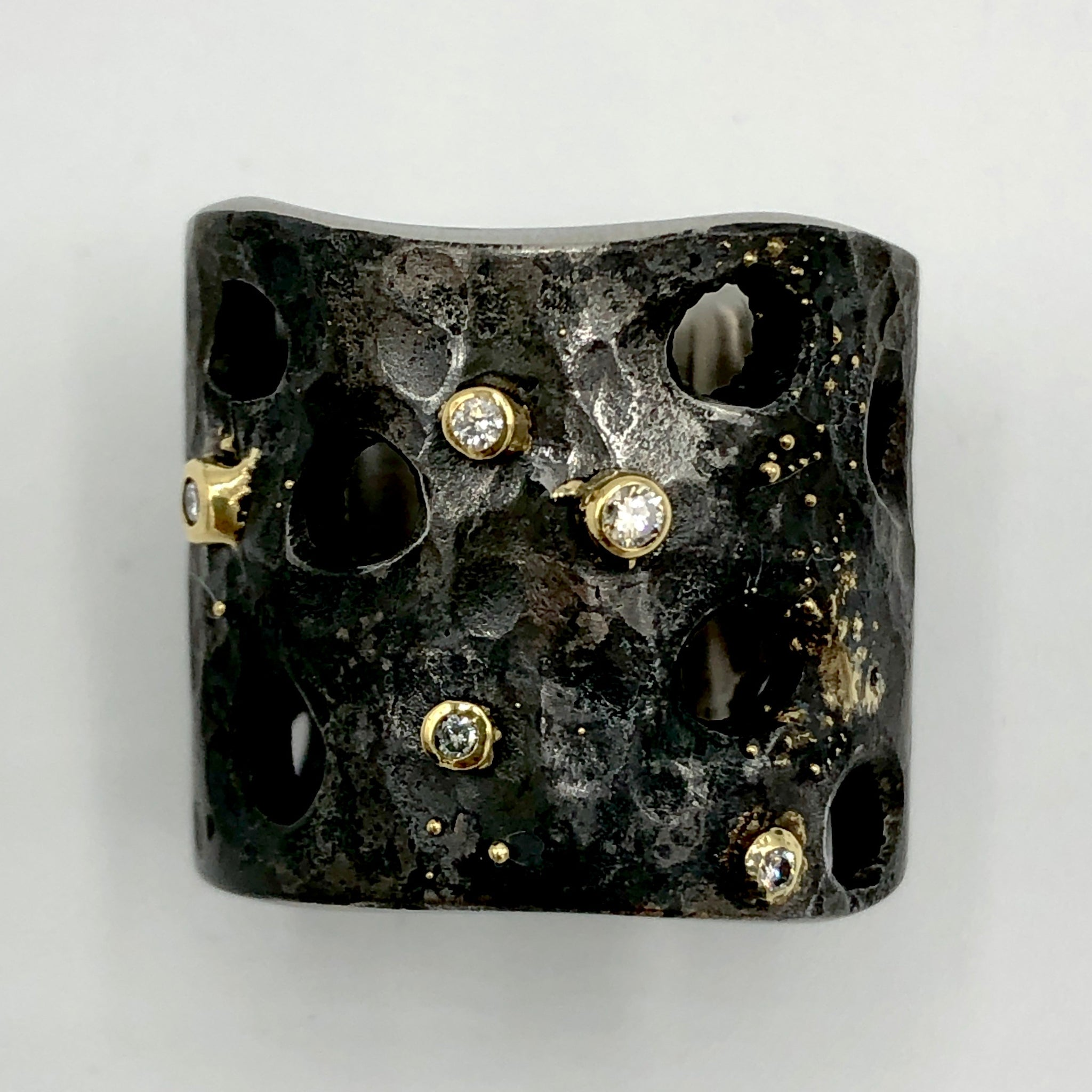 Steel & Gold Ring with Diamonds