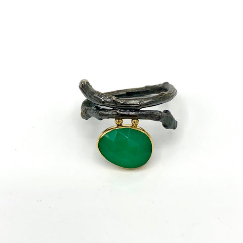 Twig Ring with Rose-Cut Chrysoprase