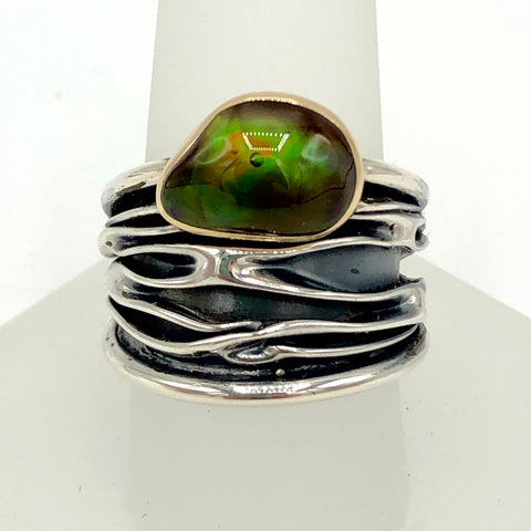 Fold-Formed Ring with Fire Agate