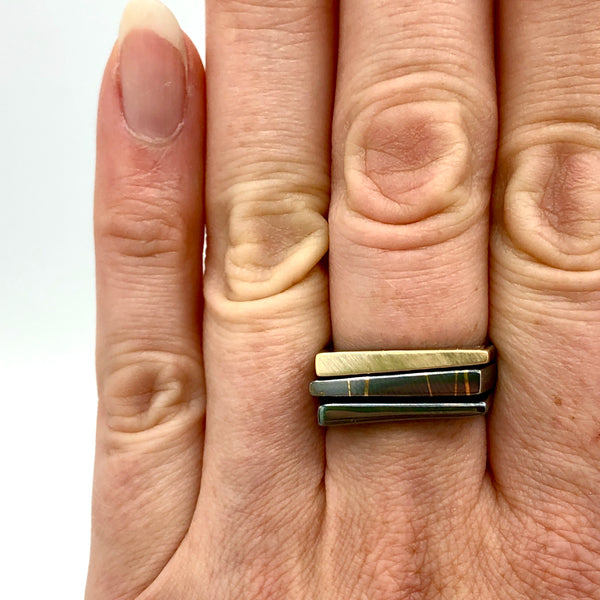 Asymmetrical  Silver & Gold Stacking Ring Set
