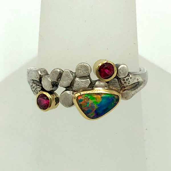 Black Opal Pebble Ring