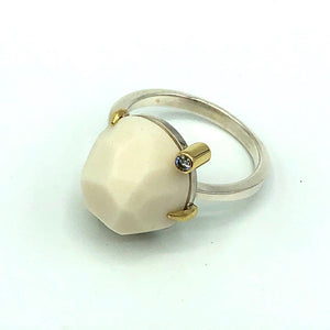 Porcelain Gem & Diamond Ring