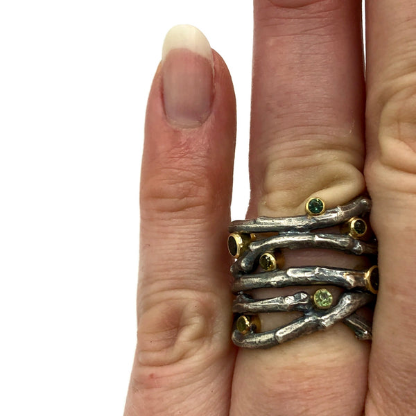 Tangled Twig Ring with Green Sapphires