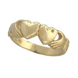 Republican 2 Hearts Yellow Gold Claddagh Ring - Ladies