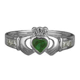 Sterling Silver Claddagh Emerald and CZ Shoulders