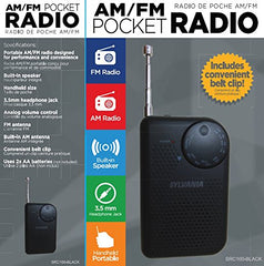 Sylvania Portable AM/FM Pocket Radio with Built-In Speaker, Black