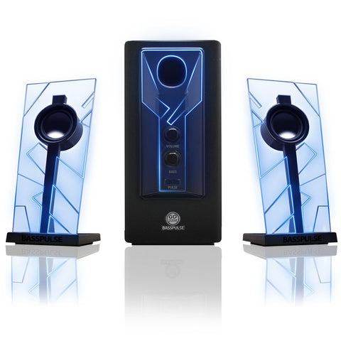 GOGROOVE BassPULSE Computer Speaker System with LED Glow Lights and Powered Subwoofer-Works with PC, Apple MAC, ASUS, Acer, Alienware, CybertronPC, Dell, HP, and More Computers, Blue