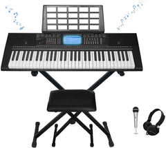 Technical Pro 61-Key Electronic Piano Bundle with Stand Stool Headphones Mic