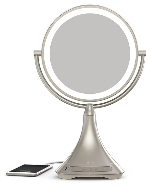 "iHome Beauty Portable/Rechargeable 9"" Double-Sided Vanity Mirror Speaker With Bluetooth, Audio, Speakerphone and USB Charge"