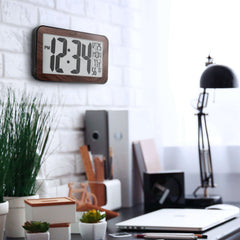 Marathon Atomic Digital Clock with Indoor Temperature Indicator  (CL030033WD) - Wood Grain