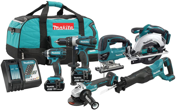 Makita DLX6079M 18V LXT 6pc Combo 4.0 Ah Kit with 2 Batteries & Tool Bag