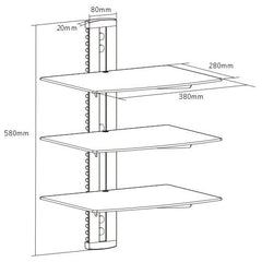 Brateck Triple 3 Components DVD wall mount shelves floating shelf
