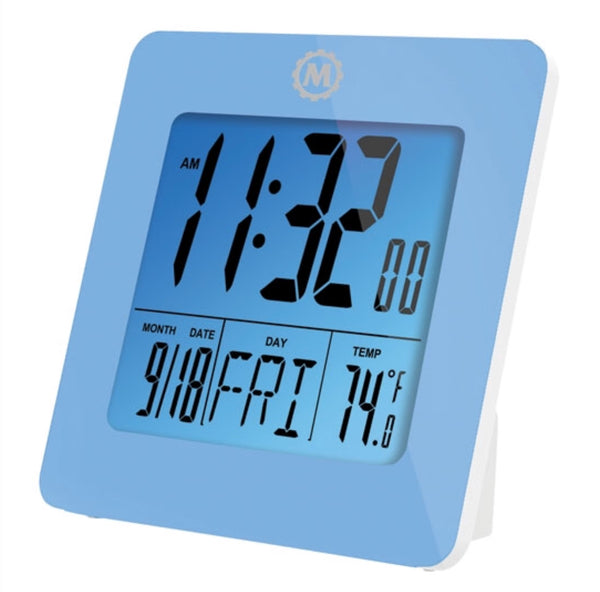 Marathon Small Digital Desk Clock - Blue