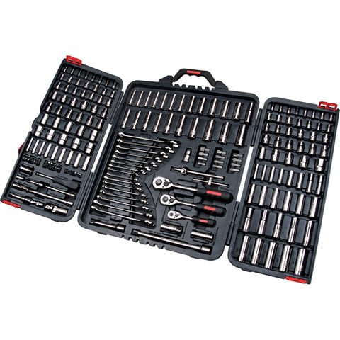 "Aurora Tools 210-Piece 1/4"", 3/8"" and 1/2"" Drive S.A.E./Metric Socket and Wrench Set"