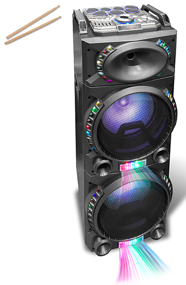 "Technical Pro Double 12"" Bluetooth Tower Speaker With Electric Drum Pads"