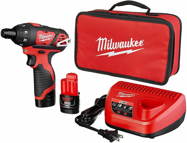 Milwaukee 2401-22 M12 12-Volt Lithium-Ion Cordless 1/4 in. Hex Screwdriver Kit