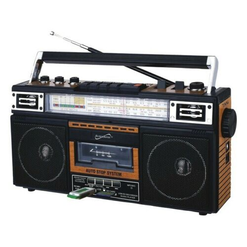 SUPERSONIC(R) SC-3201BT-WD Supersonic Retro 4-Band Radio and Cassette Player