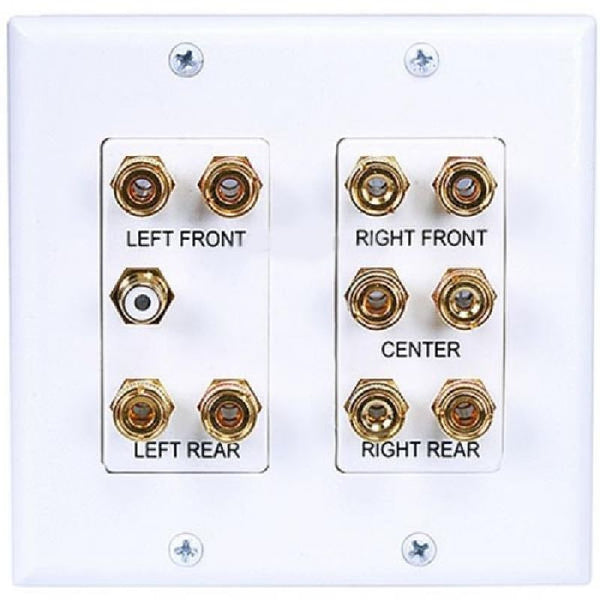2-Gang 5.1 Surround Sound Distribution Wallplate FacePlate