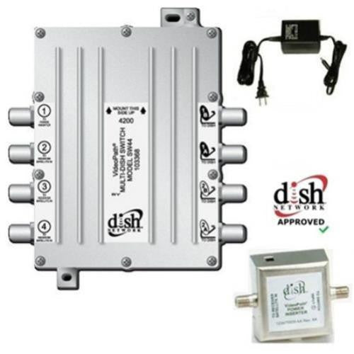 Videopath SW-44 (SW44) Multi-Dish Switch with Power Inverter & Adapter