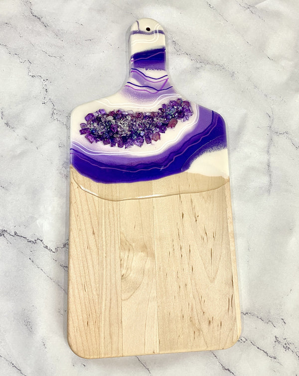 Geode Inspired white and purple cheese board