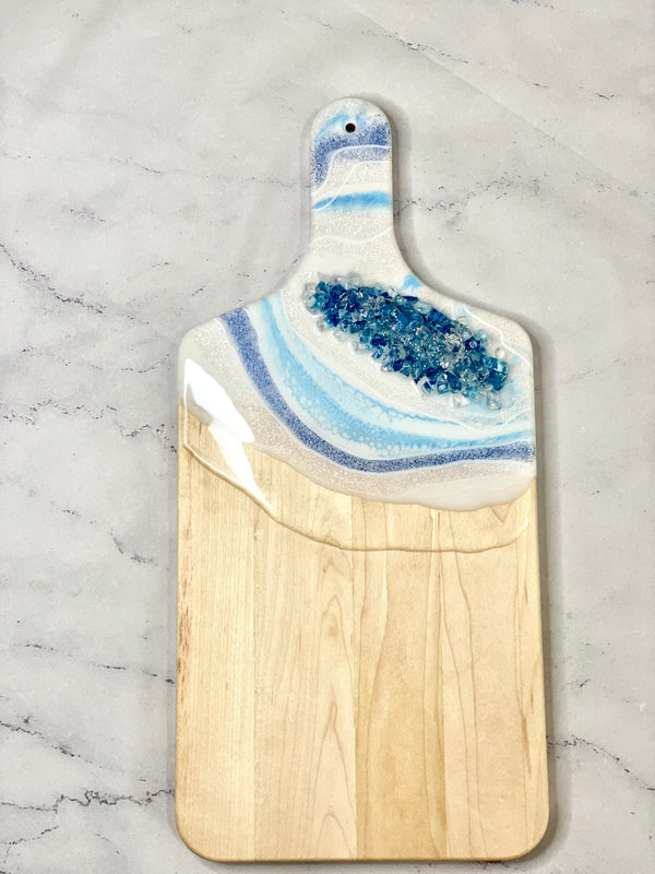 Geode Inspired white and blue cheese board