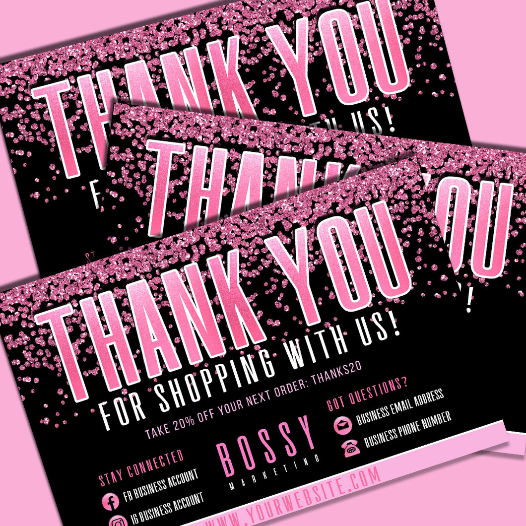 Pink Bling Thank You Card