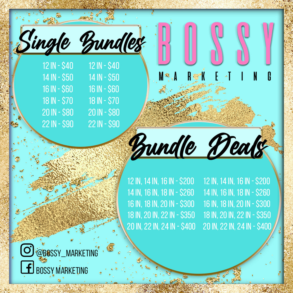 Glitz and Glam Price List (Teal and Gold)