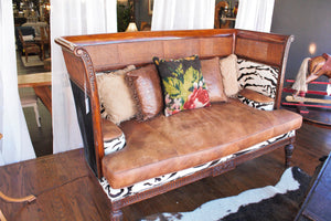 Rustic Leather Cowhide Sofa (In-Store Pickup Only)