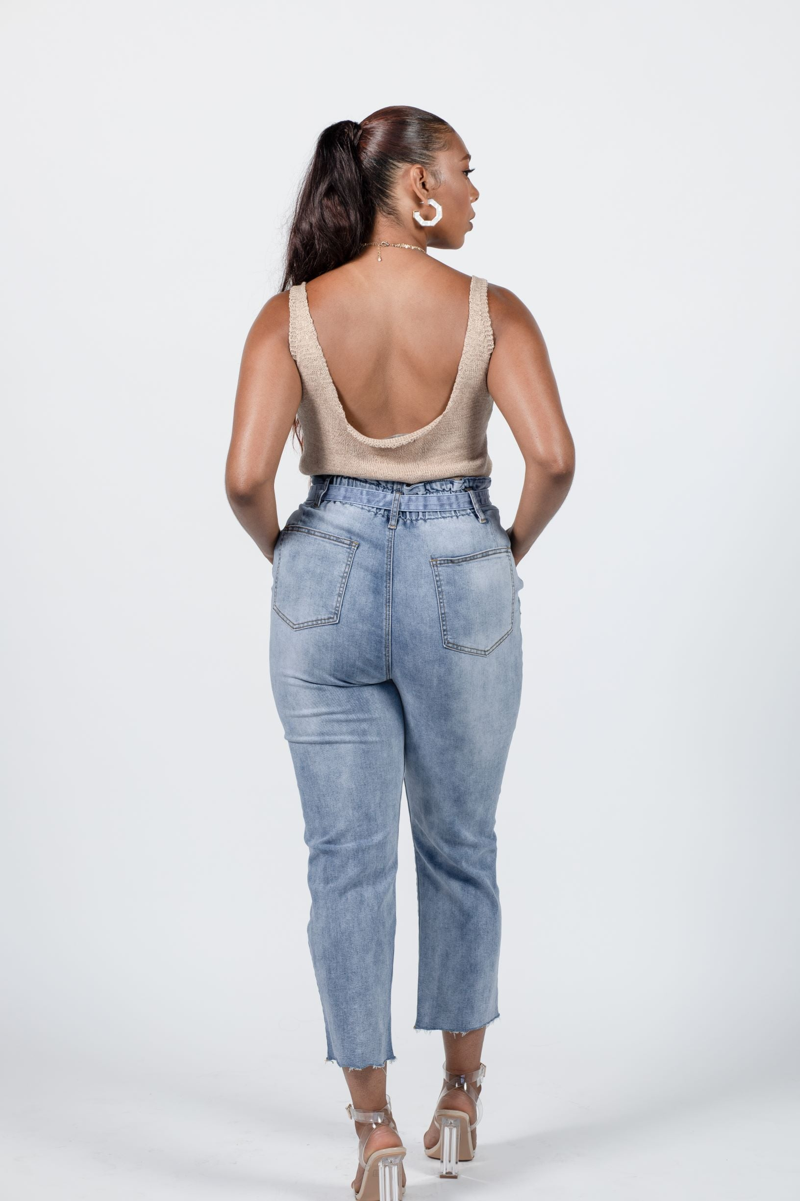 Paper-bag Mom Jeans with Tie Belt