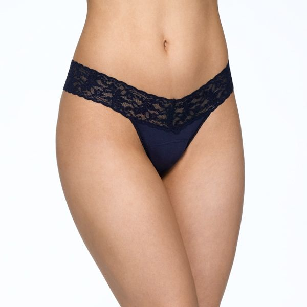 Rolled SUPIMA® Cotton Low Rise Thong with Lace
