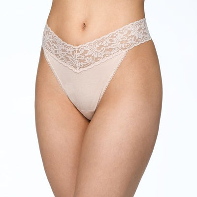 Rolled SUPIMA® Cotton Original Rise Thong with Lace